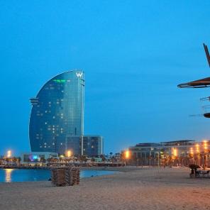 La Barceloneta et l'hôtel W Barcelona