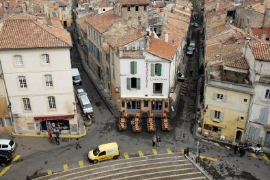 Vue sur le centre historique depuis les arènes de Arles