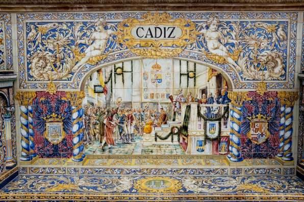 La place d'Espagne est entourée de bancs en azulejos représentants les provinces espagnoles
